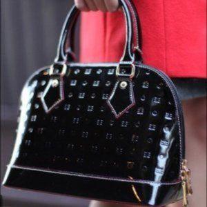 ARCADIA Dome Metric Patent Leather Satchel Black